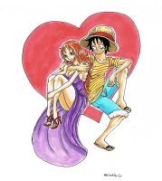 Luffy x Nami , The heart by heivais
