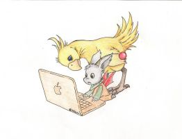 Moogle and chocobo by Namipulla