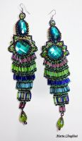 Peacock Chandelier Earrings by mariachughtai