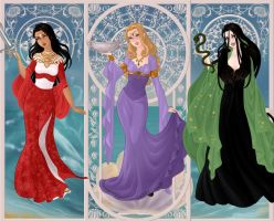 Sif, Sigyn, Hela. by Red-Queen666