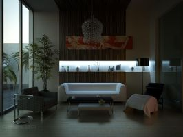 night scene of sitting room by Neellss
