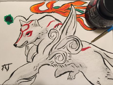 Ink and Brush: Amaterasu by SonicLucario
