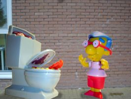 simpsons vs toilet monster by cookadile