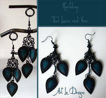 Heartdrop: Teal Leaves and Vine (for sale) by ArtLoDesigns