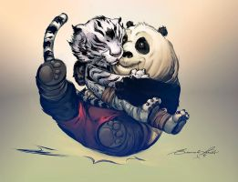 Panda and Tiger by deffectx