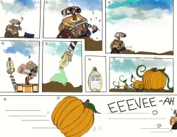 Wall-E and the pumpkin seeds by peonyroyale
