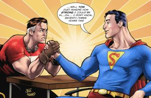 Tom Strong and 1930's Superman by StevenHoward