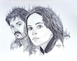Star Wars Rouge One Jyn Erso and Cassian Andor by OMKDrawings