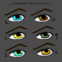 Sky's Eye Color Choices for MC:The Awakening Comic by MidNight-Vixen