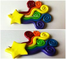 Rainbow Shooting Star Pendant by Rhiannon-San