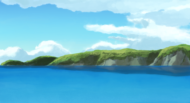 Ocean, Cliffs, and Sky by DeannART