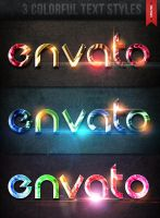 3 Colorful Text Styles by Xemrind