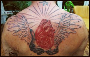 Wings, hands and heart by CAMOSartTATTOO