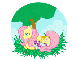 Fluttershy and Her Little Girl by SapphireIceAngel