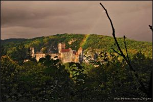 Castle Hardegg with rainbow by brijome