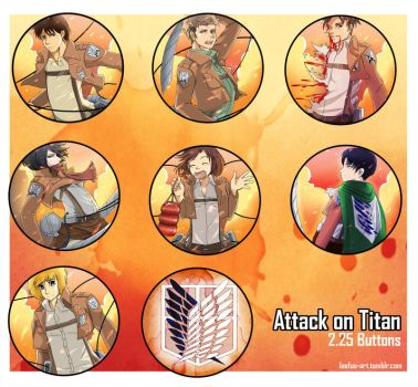 Attack on Titan Buttons 2.25' by Leefuu