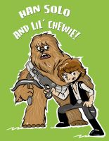 Han Solo and Lil' Chewie by JamieCosley