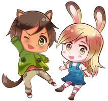 Doggy and Bunny by Miss-Panettone