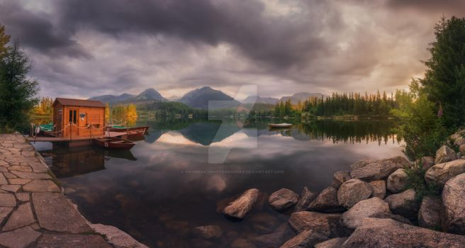 Morning on the lake Strbske Pleso. by naumenkophotographer