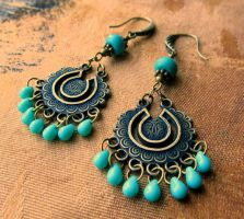 Bohemian Turquoise Chandelier Earrings by Gerene33