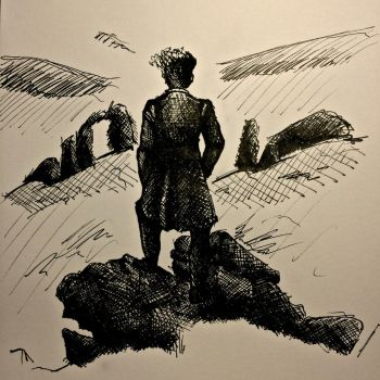 Sketch of the Wanderer above the Sea of Fog by MarcoHauwert