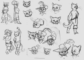 puss in boots sketches by Silverbloodwolf98
