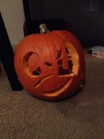 i tried pumpkin carving with my brother by AdorableEvil29