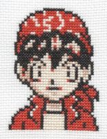 Pokemon TCG Main Character cross stitch by Lil-Samuu
