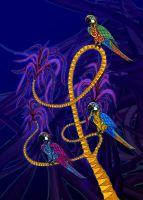 Parrots in a Palm Tree by PhilLewis