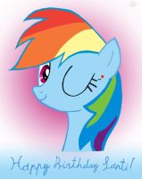 Rainbow Dash's Love Wink [Santi's Bday] (COLORED) by JustBronyM