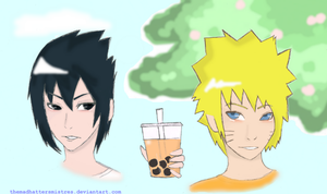 NaruSasu- Love Over Boba by TheMadHattersMistres