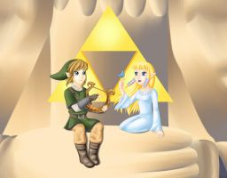 Link and Zelda -Skyward Sword- by purplelemon