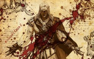 AC2 - parchment blood spatter by Hallucination-Walker