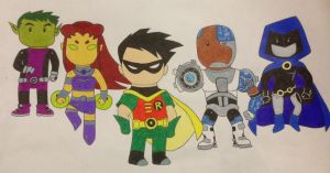 Teen Titans-Scribblenauts by bluemoonbeetle