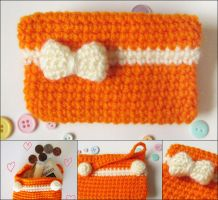 Kawaii bow crochet amigurumi coin purse orange by hellohappycrafts