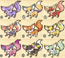 Colorful Fennec Adopts [OPEN!] by melonycreations