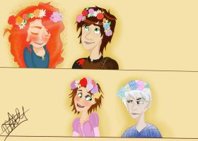 The big four with flower crowns by Sonnikufan4ever