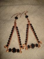 Black And Copper Beaded Cleopatra Earrings by Toowired