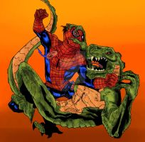 Spidey vs Lizard Color by Diablozzo
