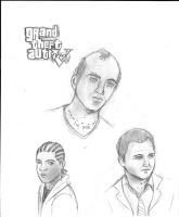 The GTA V Trio by CrimsonHarlequinn