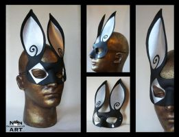 Harlequin Rabbit Mask by nondecaf