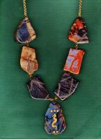 Assorted Agate Wire-Wrapped Necklace {Made by Me} by Empress-XZarrethTKon