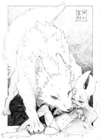 Aria and her Artic Wolf by EUDETENIS