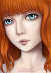 Red Hair, Blue eyes by KarenOArt
