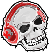 Headphone Skull by StaticRed