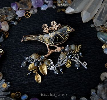 Steampunk bird brooch w/ Labradorite and Hematite by IkushIkush