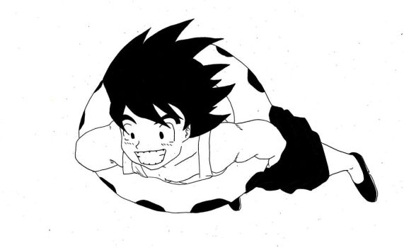 ink drawing of kid son goku by Harryboy755