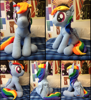 A Rather Large Rainbow Horse Plushie by LumenGlace
