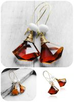 Wire Wrapped Coffee Topaz Crystal Gold Earrings by crystaland
