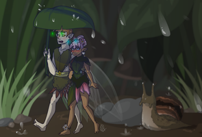 A Stroll in the Rain by ColacatintheHat